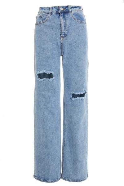 Petite Blue Denim Ripped Dad Jeans
